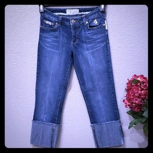 Baby Phat crop cuff embroidered bling jeans sz 0